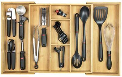 KitchenEdge Adjustable Kitchen Drawer Organizer for Utensils and Junk