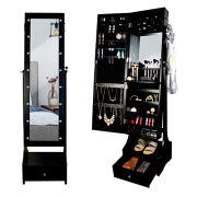 PRINZ Black Jewelry Organizer Cabinet Armoire, Full Length Illuminated Mirror