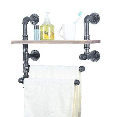 Industrial Pipe Towel Rack With 2 Towel Bar,19.68in Rustic Bathroom Shelves