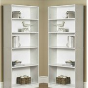 Mainstay` Pack of 2 Orion Wide 5-Shelf Bookcase White
