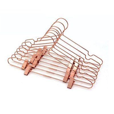 """KOOBAY 25Pack 17"""" Metal Hook Wire Rose Gold Copper Hangers"""