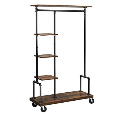 SONGMICS Clothes Rack, Clothing Rack on Wheels, 5-Tier Garment Rack