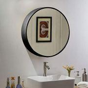 """TinyTimes 23.63"""" Wooden Round Mirror Cabinet, Round Vanity Mirror"""