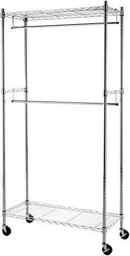 AmazonBasics Double Hanging Rod Garment Rolling Closet Organizer Rack