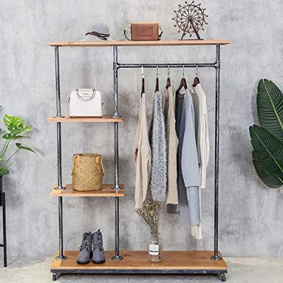 HANS CAO Industrial Style Rolling Clothes Rack,Heavy Standing Hanger
