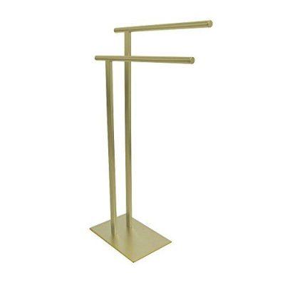 Kingston Brass Freestanding Double Towel Rack, Brushed Brass