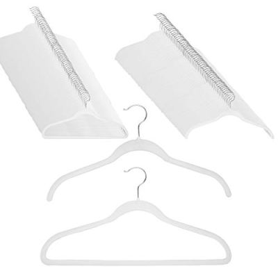 Joy Mangano 120 Pack White Huggable Hangers Non Slip Velvet Hangers