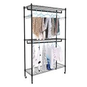 Heavy Duty 3 Shelves Wire Shelving Closet Organizer Garment Rack