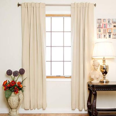 Blackout Curtain Beige Rod Pocket Energy Saving Thermal Insulated