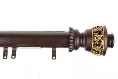 Decorative Traverse Curtain Rod w/Sliders Filagree Finial