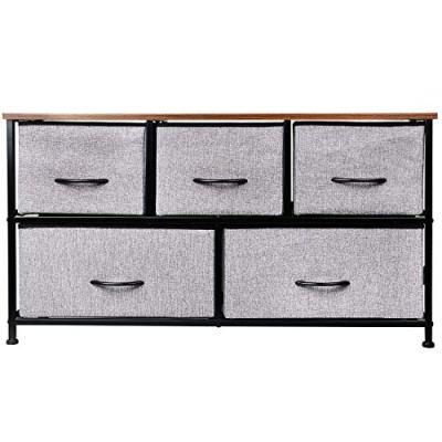 KINWELL Extra Wide Fabric Storage Organizer Drawer Dresser TV Stand