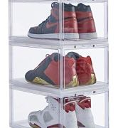 IRONLAND Stackable Shoe Organizer Clear Plastic 3 Pack Shoe Boxes