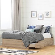 South Shore Fakto Mates Bed with Storage Drawers Full Rustic Oak