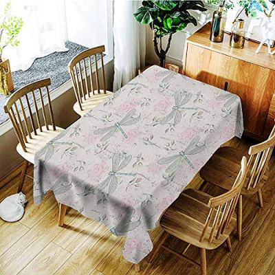 GUUVOR Dragonfly 3D Printed Long Tablecloth Shabby Chic Roses