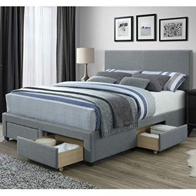 DG Casa Kelly Panel Bed Frame with Storage Drawers and Upholstered Headboard