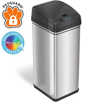 iTouchless 13 Gallon Pet-Proof Sensor Trash Can with AbsorbX Odor Filter Kitchen