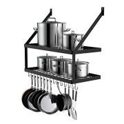 Hoooh Square Grid Wall Mount Pot Rack with 2-Tier 15 Hooks