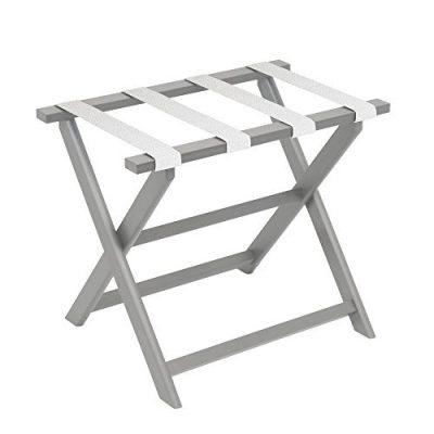 Gate House Furniture Light Grey Eco-Poly Folding Luggage Rack
