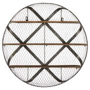Stone & Beam Rustic Round Metal Mesh Hanging Wall Shelf Unit