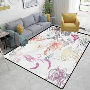 Dragonfly Area Rug Floral Design Hibiscus Ornaments Moth and Dragonfly