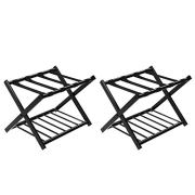Tangkula Luggage Rack (Set of 2), Folding Metal Suitcase Luggage Stand