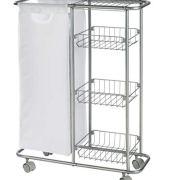 WENKO Collecting trolley Slim - 3 tiers, detachable bag