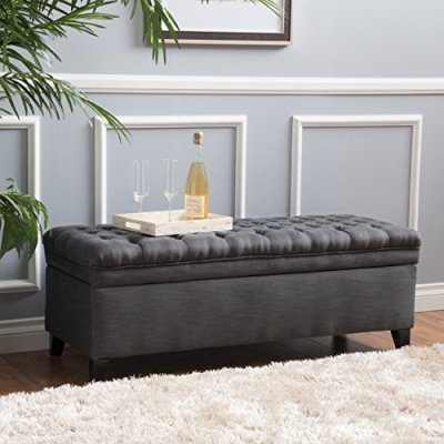 Christopher Knight Home Living Sheffield Tufted Fabric Gray Storage Ottoman