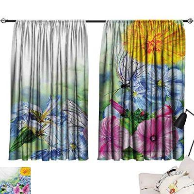 Davishouse Watercolor Flower Thermal Curtains Surreal Iris Peony Poppy Petals Paint