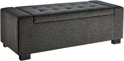 First Hill Calida Rectangular Storage Ottoman Bench with Fabric Upholstery