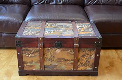 Styled Shopping Ancient City Large Wood Storage Trunk Wooden Treasure Chest