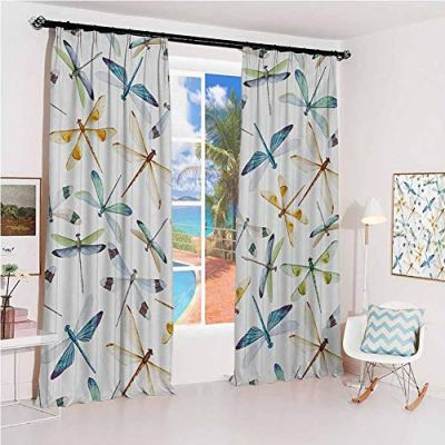 GUUVOR Dragonfly Sun Protection Insulated Bedroom Living Room Curtain