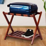MISC Walnut Brown Hotel Luggage Rack for Guest Room Folding Suitcase