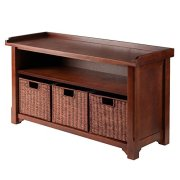 Winsome Wood MilanWood Storage Bench in Antique Walnut Finish