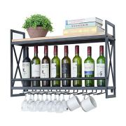 Industrial Wine Racks Wall Mounted with 9 Stem Glass Holder