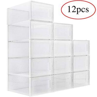 WAYTRIM Foldable Shoe Box, Stackable Clear Shoe Storage Box