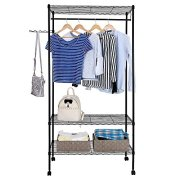 Festnight 3-Tier Rolling Clothes Garment Rack with Shoe Shelf and Hooks Portable