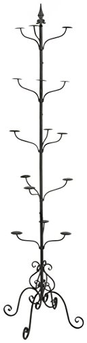 Displays2go Tall Multi-Tiered Rotating Wrought Iron Hat and Coat Rack