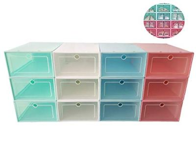 Laitemo Shoe Box,Clear Stackable Storage Shoe Box Organizer