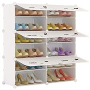KOUSI Portable Shoe Rack Organizer 24 Pair Tower Shelf Storage Cabinet