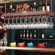 FURVOKIA Industrial Vintage Wine Glass Hanging Rack,Bar Floating Shelf