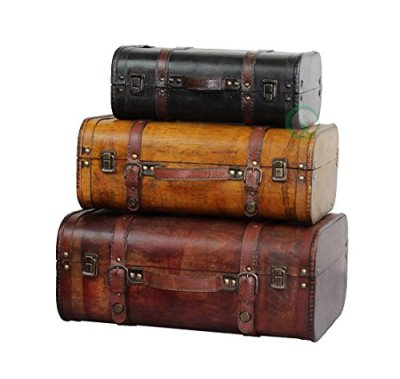 Vintiquewise(TM) 3-Colored Vintage Style Luggage Suitcase/Trunk