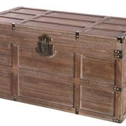 Vintiquewise Wooden Rectangular Lined Rustic Storage Trunk