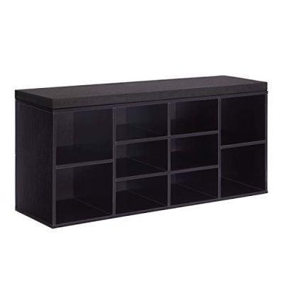 VASAGLE Cubbie Shoe Cabinet Storage Bench with Cushion, Adjustable Shelves