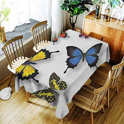 GUUVOR Butterfly 3D Printed Long Tablecloth Various Colorful Butterflies