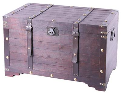 Vintiquewise Vintage Large Wooden Storage Trunk