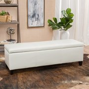 Christopher Knight Home Living Skyler Off-White Leather Storage Ottoman Bench