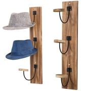 MyGift Wall Mounted Rustic Burnt Wood & Metal Wire Vertical Hat Racks