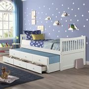 Twin Captain's Bed Storage Daybed with Trundle and Drawers for Kids Teens