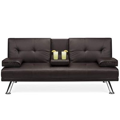Best Choice Products Modern Faux Leather Convertible Folding Futon Sofa
