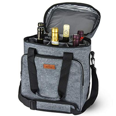 Freshore Insulated Wine Carrier 6 Bottle Bag Tote Removable Padded